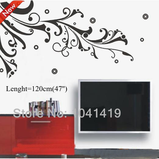 10Sets Black Fake Flower Vine Happy Home Decal Decoration For LivingRoom TV background Black Beautiful Quotes Wall Mural(China (Mainland))