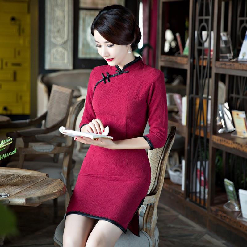 ใหม่2017ผู้หญิงผ้าลินินCheongsamจีนแฟชั่นสไตล์การแต่งกายที่สวยงามบางสั้นพิมพ์QipaoขนาดSml XL XXL XXXL F090912 ถูก