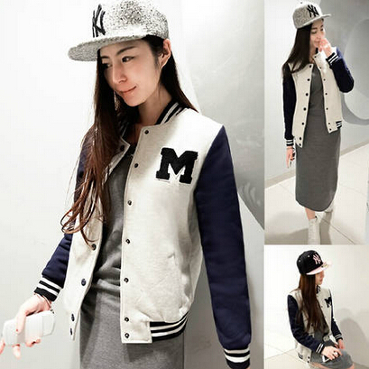 New Arrival Tops Fashion Autumn Winter Female Casual Baseball Color Outerwear Pullover Suit Jackets Base Ball Suit H1336(China (Mainland))