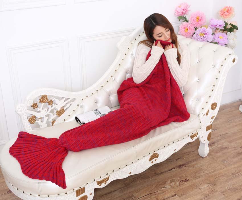 yarn knitted Mermaid Tail blanket handmade crochet mermaid blanket adult throw bed Wrap super soft sleeping bag 90cm 195cm