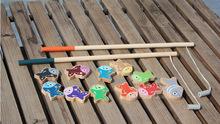 Деревянный магнитный рыбалка игрушка с 11 рыб и 2 удочки подарок для kis и дети Обучения и образования игрушки Бесплатная доставка