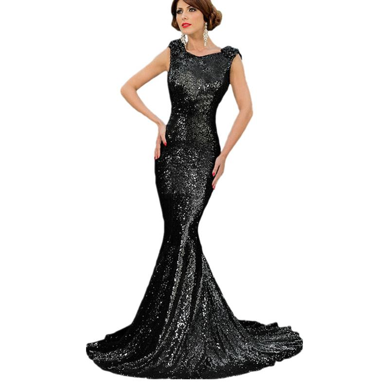 Women 2016 Elegant Long Backless Dresses For Prom Black/Gold/Green/Silver/Red Full Sequin Big Bow Accent Party Dress VM60842Одежда и ак�е��уары<br><br><br>Aliexpress
