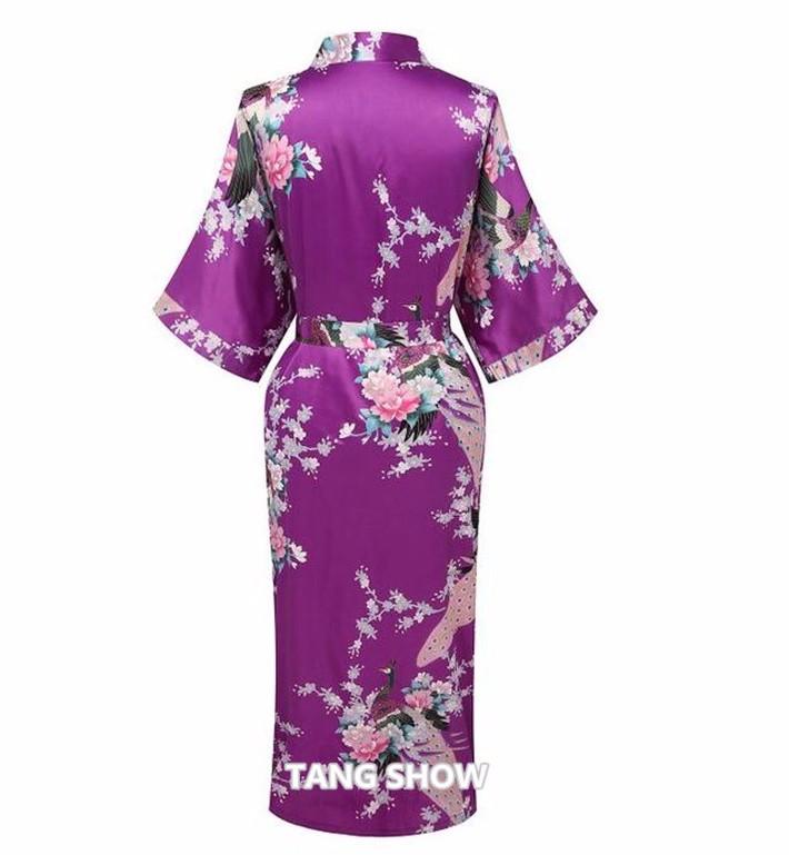Новое фиолетовый китайских женщин атласа район ночной рубашке печать кимоно платье невесты свадебная халат sml XL XXL XXXL BR103