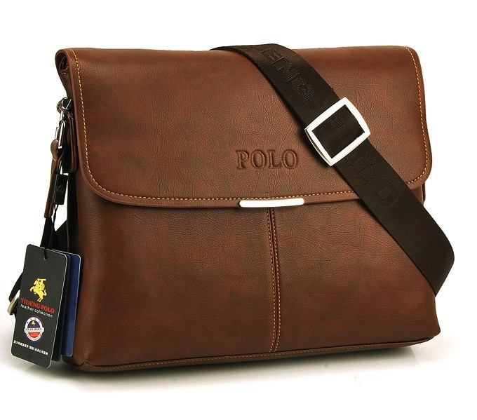 New 2014 Fashion High Quality Men Messenger Bags, Brand POLO Genuine Leather Male Brown Black Single Shoulder Business Briefcase(China (Mainland))