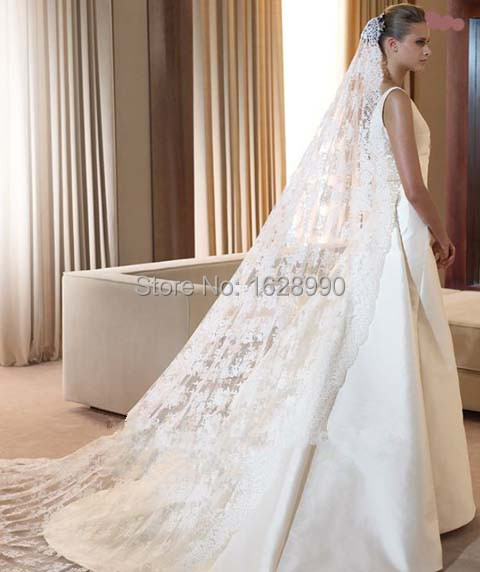 Wedding veil long bridal veils white ivory wedding accessories voile
