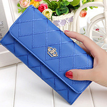HOT New 2016 Fashion Lady Womens Long Check Purse Clutch Crown PU Leather Wallet Card Holder Handbag Long Wallets Women Purse