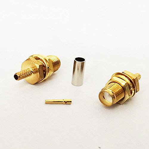 SMA female jack RF conector crimp Nut Bulkhead for RG316 RG174 cable Straight Gold-plated(China (Mainland))