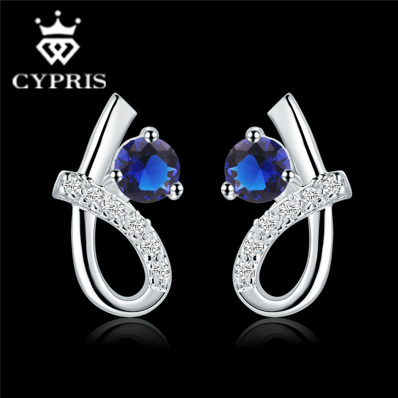 E536 HOT BEST SELLING 2016 sapphire blue ruby silver earrings women fashion Ohrring/boucle/brinco/pendiente factory price(China (Mainland))