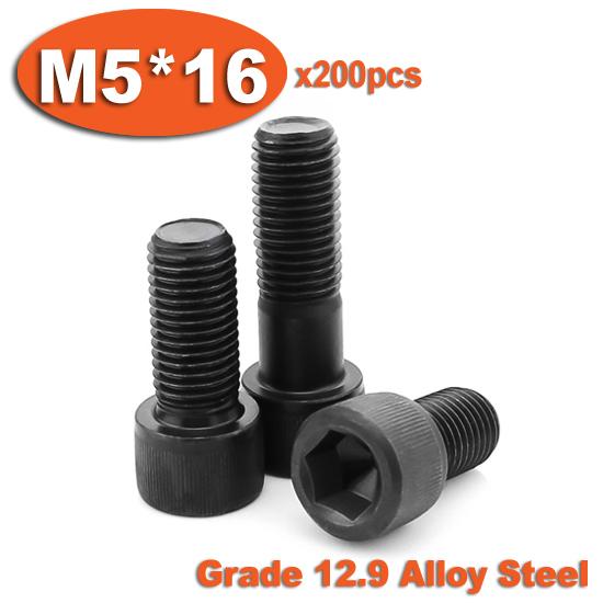 200pc DIN912 M5 x 16 Grade 12.9 Alloy Steel Screw Black Full Thread Hexagon Hex Socket Head Cap Screws<br><br>Aliexpress