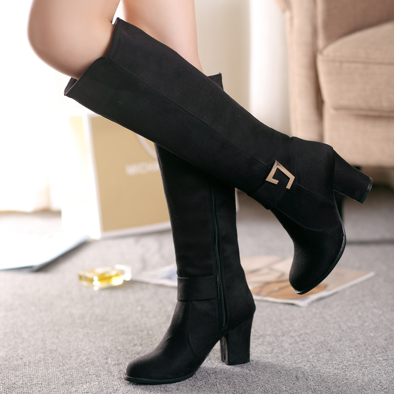 Women Boots 2016 Autumn Winter New Fashion Ladies Sexy Knee High Boots Zipper Long Boots Thick High Heels shoes woman