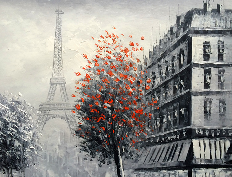 Paris black and white oil painting images for White and black paintings