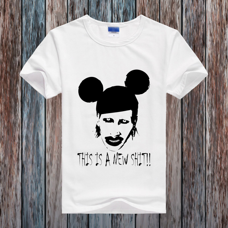 Fashion Style t shirt Men Printed 3D Tee Marilyn Manson Metal Rock Mens Design Tshirt 2016 Short Sleeve O-Neck Funny T-shirt Men(China (Mainland))