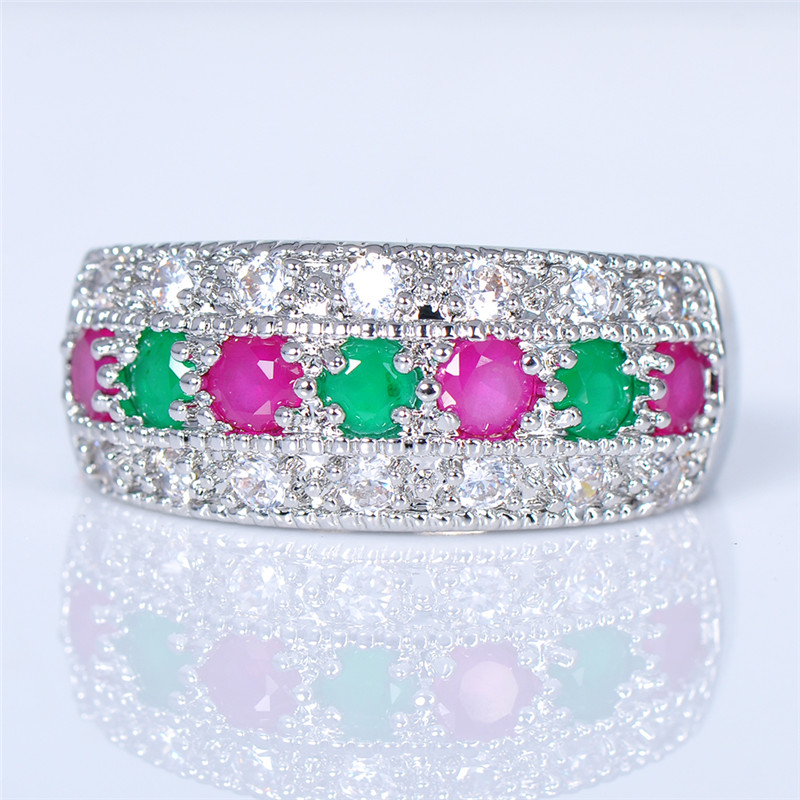 Women Fashion Red Corundum & Jade Rings 925 Sterling Silver Wedding Jewelry for Female White Gold Filled CZ Diamond Ring SMT1026(China (Mainland))