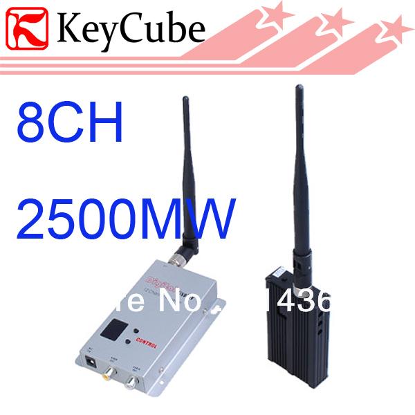 2500mW Wireless Video Audio Transmitter Receiver System 8CH 2.5W av sender wireless AV transmitter Free Shipping(China (Mainland))