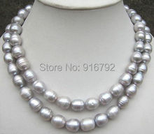 Buy YH@CS >>>2 ROW AAA 11-13mm natural AAA+++tahitian silver gray pearl necklace NEW for $18.38 in AliExpress store