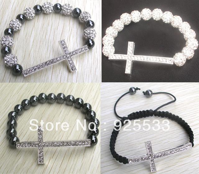 Free shipping Women 4 Styles Jewelry Handmade Crystal Rhinestone Sideways cross Bracelets Adjustable 12pcs per lot mix order(China (Mainland))