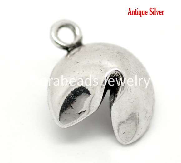 Free Shipping! Antique Silver Lucky Fortune Cookie Charm Pendants 20x15mm, sold per packet of 20 (B17396)(China (Mainland))