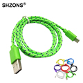 Universal 1m 2m 3m Braided Wire Micro USB Cable Nylon Woven Charger Cords for Samsung S4