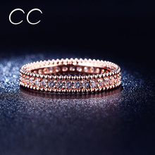 Full Crytal Ring 18k Rose Gold Plated Simple Classic Wedding & Engagement Rings for Women Made With AAA CZ Diamond CC197(China (Mainland))