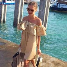 Hot sale Fashion women Summer strapless Sexy Slash Ruffled Strapless Backless the beach style big size Solid color dress(China (Mainland))