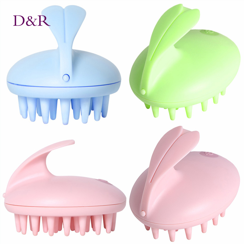 Electric Cute Rabbit Head Massager Magic Shampoo Massage Comb Bath Massage Brush Scalp Massager Head Hair Care Vibrating Brush(China (Mainland))