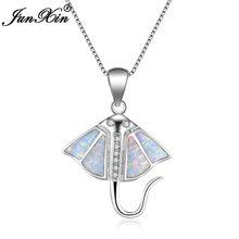 Модное женское голубое белое огненное ожерелье с опалом 925 серебро ожерелье s & Подвески для женщин винтажные ювелирные изделия животных(China)