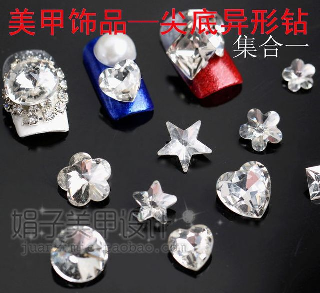 Nail art accessories  for sharp   bottom drilling crystal shaped glass diamond satellite stone