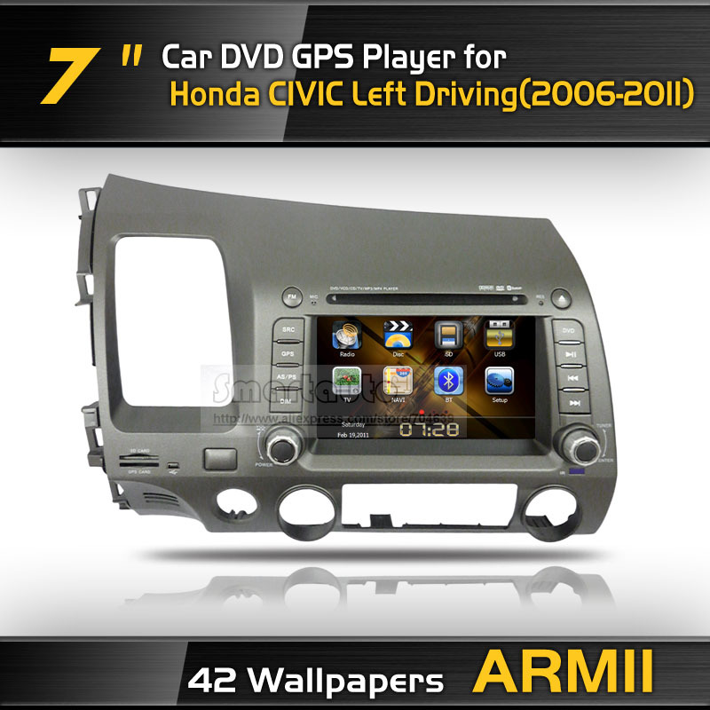 Big discount stable high quality for left driving 2006-2011 Civic dvd gps with 42 wallpapers iPod Bluetooth,Gift:4G card+Map(China (Mainland))