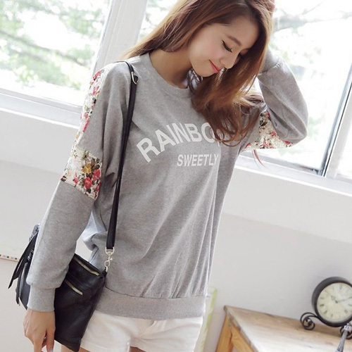 New 2015 Fashion Clothing Women Cotton Shirt Loose Letter Lace Stitching Flower O-Neck Ladies Lovely Sweatshirt.Pullover WY029(China (Mainland))