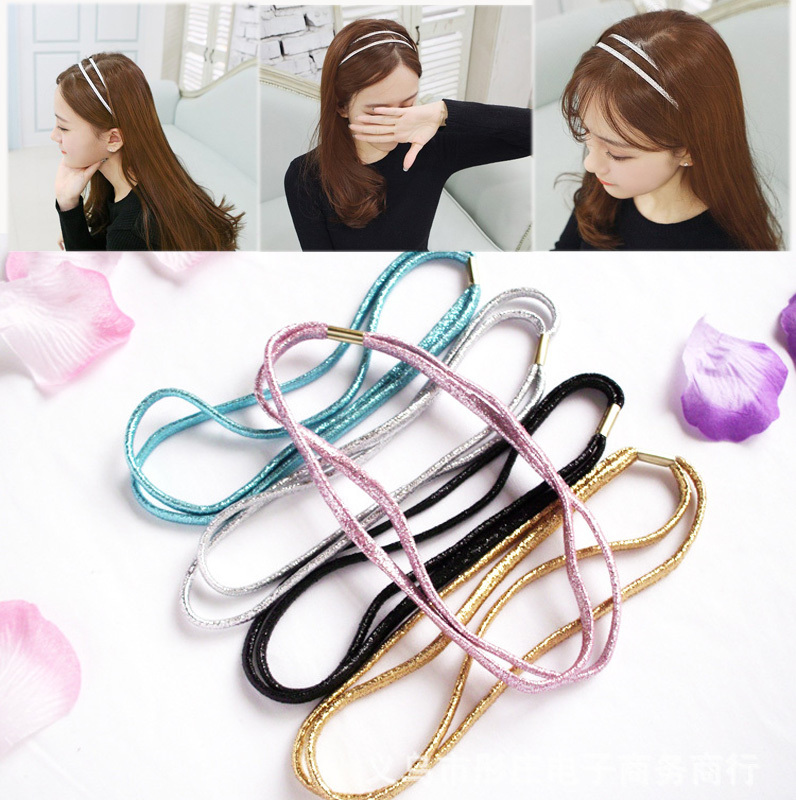 3 PCS Fashion Elastic Headband Head Piece Hair Band Hairband Jewelry for Women Girl Lady Black/Golden(China (Mainland))