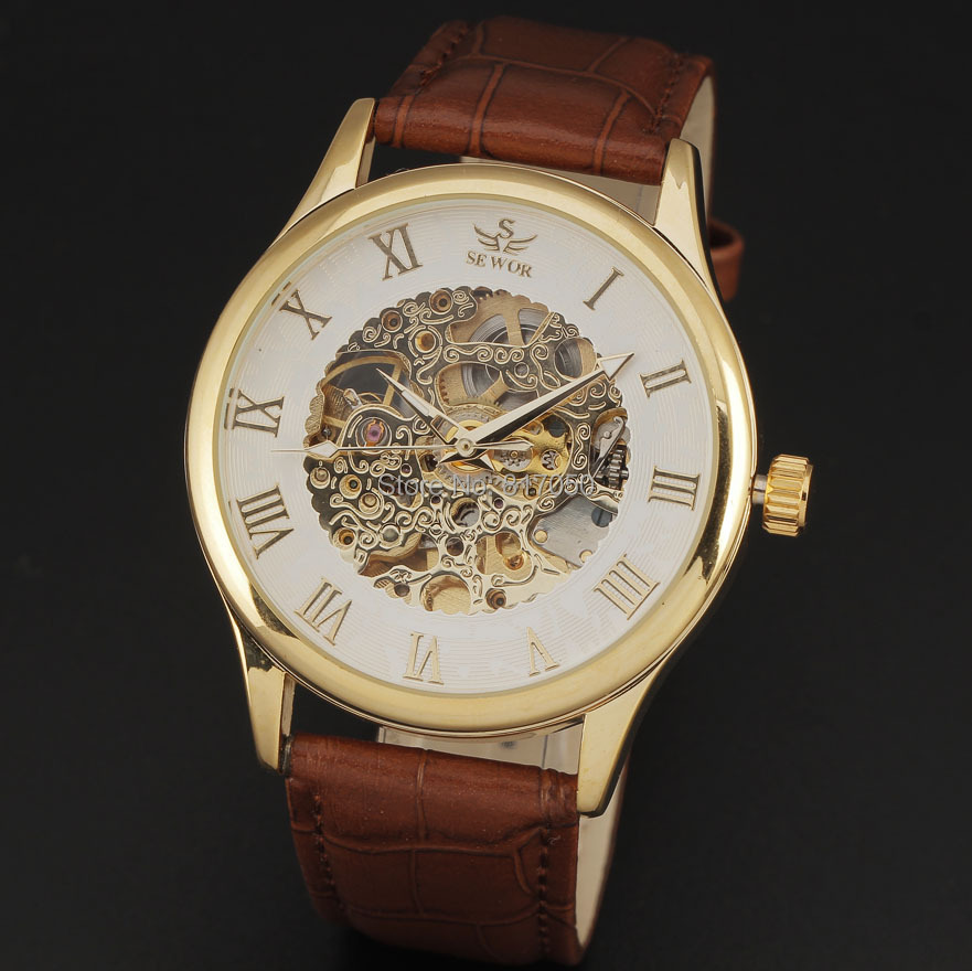 2015 new SWOR famous brand leahter strap skeleton men watches fashion classic mechanical automatic self wind wrist watch gift(China (Mainland))