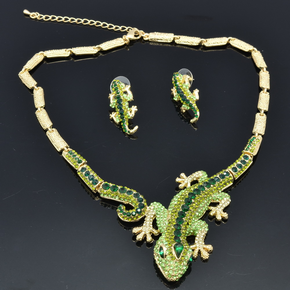 2015 new animal gecko lizard necklace earring sets