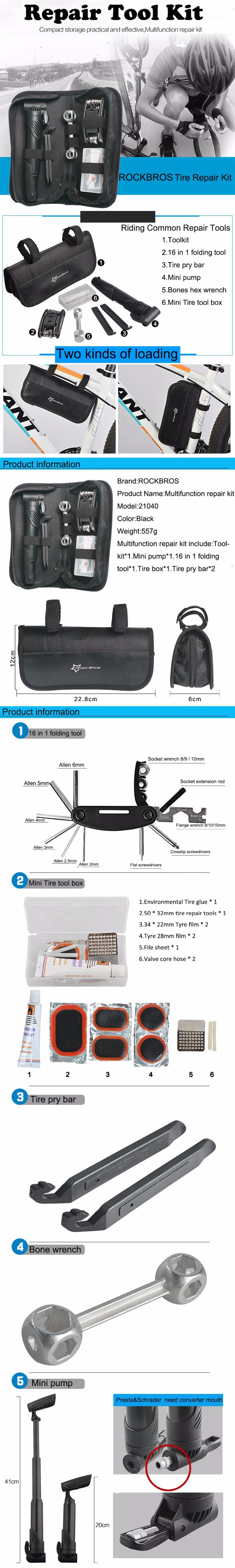 20ROCKBROS Multi-function Bicycle Repair Tool MT Road Bike Rack Portable Tool Bag Cycling Repair Kit Set Hex Wrench Pump Tool Box