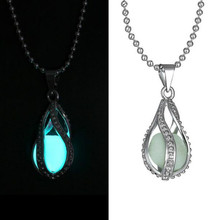 The Little Mermaid's Teardrop Glow in Dark Pendant Glowing Necklace Hot Jewelry(China (Mainland))