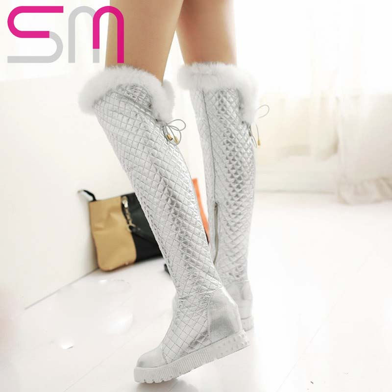 Women Boots Sexy Rabbit Fur Grid Over the Knee Boots Height Increasing Platform Snow Boots Warm Winter Boots Women's Shoes Woman