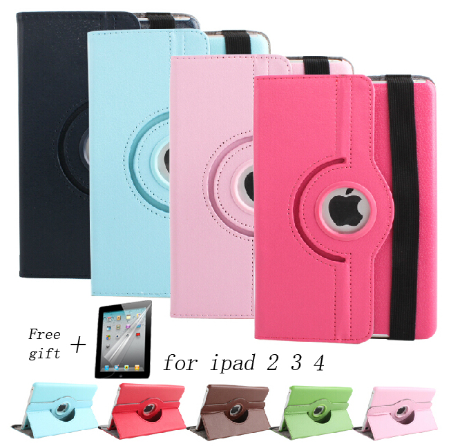 Free shipping Pu Leather 360 Rotating Case Smart Stand For New APPLE iPad 2 3 4 Tablet Case gift screen film(China (Mainland))