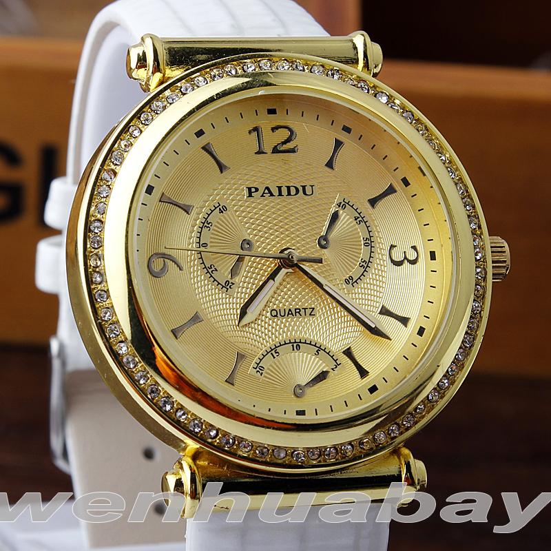 PAIDU Luxury Men Women Dress Crytal Watch Genuine Leather Band Analog Fashion Unisex Quartz wristwatch relogio relojes<br><br>Aliexpress