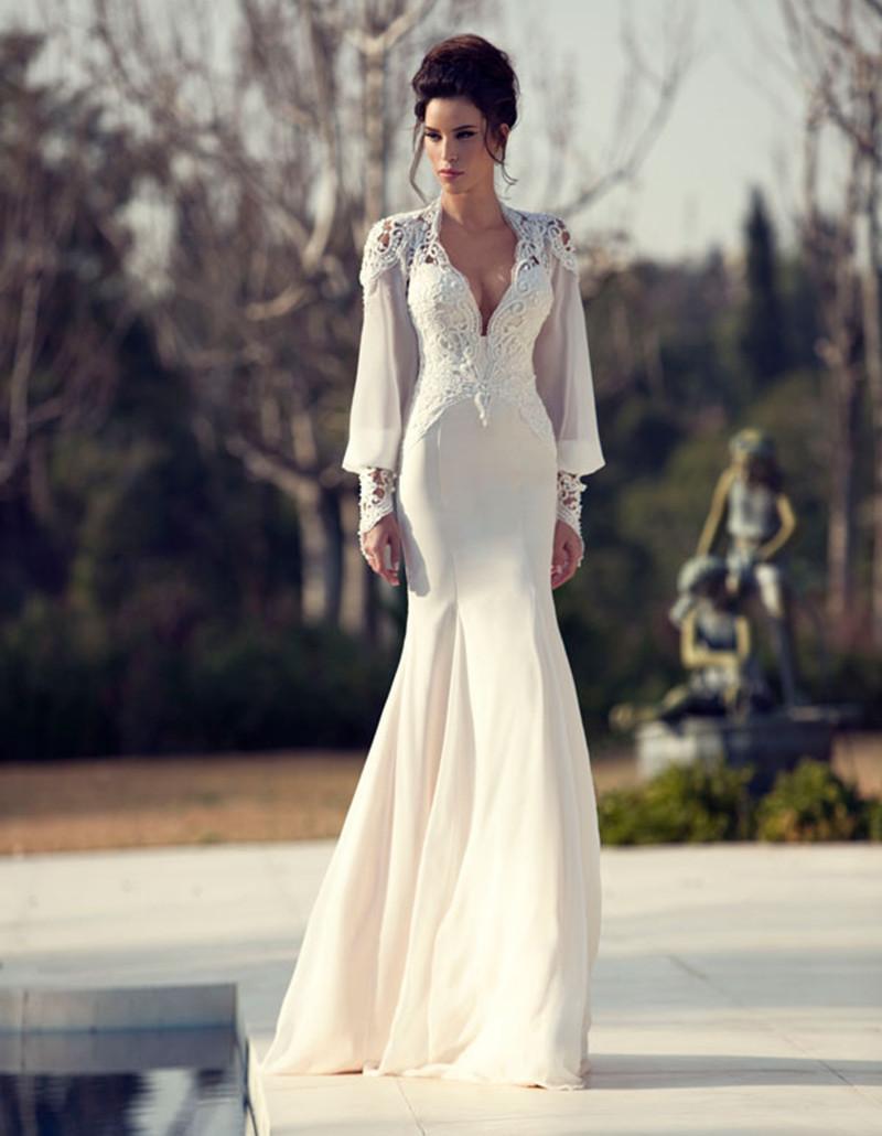 Floor length v neck backless long sleeve mermaid wedding for Long sleeve v neck wedding dress