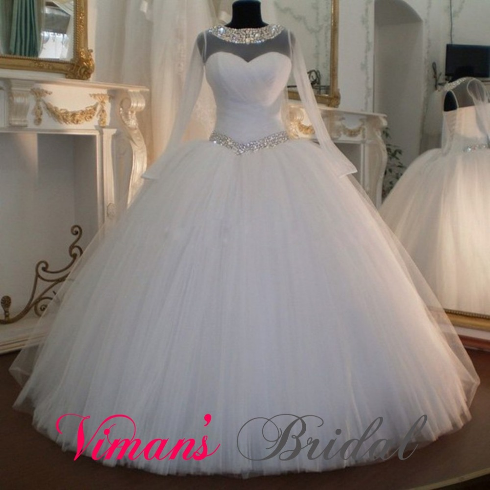 Long sleeve wedding gown puffy boat neck corset back for Boat neck long sleeve wedding dress