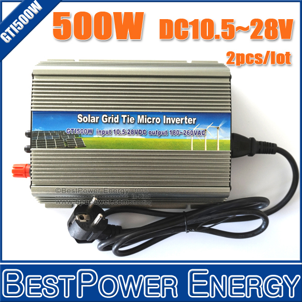 2PCS X 500W Grid Tie Micro Solar Inverter Suitable for 500~620W 18V PV Module, DC10.5~28V On Grid Inverter Pure Sine Wave(China (Mainland))
