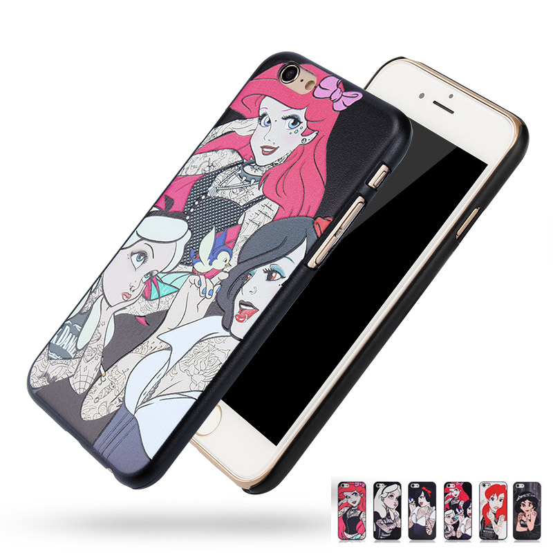 For Apple iphone SE 5 5s 6 6s Plus 6Plus Tattoo Princess Phone Bags Cases Alice in Wonderland series 3D Relief Back cover(China (Mainland))