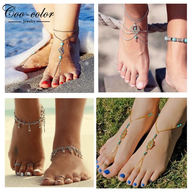 Летом ноги бирюзовый бусины ножной браслет шик цепь ноги лодыжке браслет шарм цветок ...