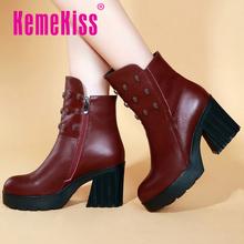 Media del tobillo envío gratis corto natrual reales cuero genuino del alto talón mujeres nieve zapatos de la bota R4804 tamaño del EUR 34-39(China (Mainland))