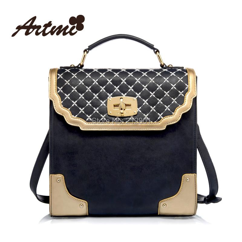 vintage fashion messenger bag deep blue portable England style handbag free shipping plaid shoulder bag European & American bag(China (Mainland))
