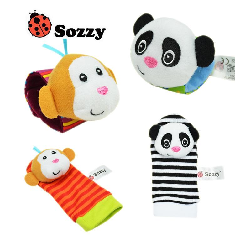 High quality 4Pcs Baby Rattle Toy Socks Animal Cute Cartoon Baby Socks autumn winter sock
