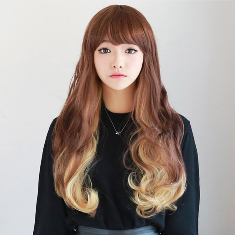 70cm long anime Cosplay wigs women cheap wavy synthetic wig heat resistant lolita wig curly harajuku ombre wigs with bangs<br><br>Aliexpress