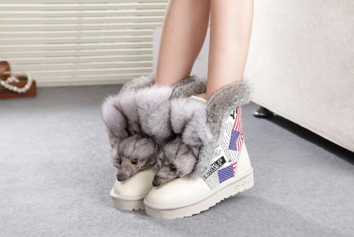 2014 Fashion Snow Boots In-tube Stripes Genuine Fox Head Rabbit Fur