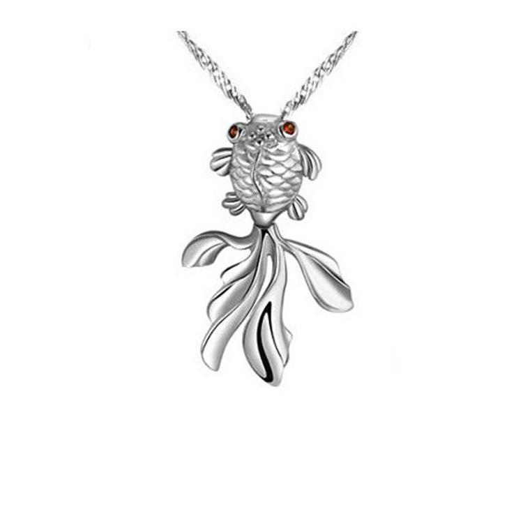 925 Sterling Silver Jewelry Zircon Fish Silver Pendant Necklace Colgante Pingente De Plata B161620(China (Mainland))
