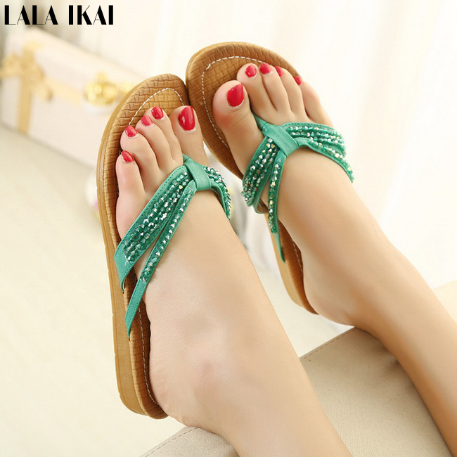 2015 Summer Women Slippers Sweet Beading Flats Flip flops Crystal Sandals Ladies Shoes High Quality Women Beach Shoes XWG0051-5(China (Mainland))