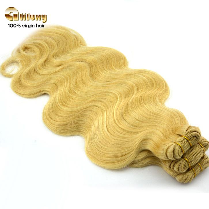 613# blonde hair ,body wave brazilian virgin hair extension,3pcs/lot<br><br>Aliexpress